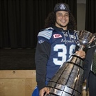 Declan Cross visits with Grey Cup